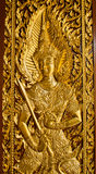 Thai style of temple door. Royalty Free Stock Image