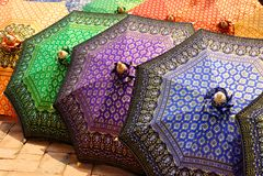 Thai style umbrella Royalty Free Stock Photos