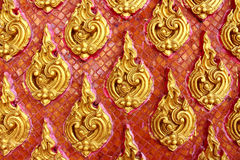 Thai style wall pattern in red background Royalty Free Stock Photo