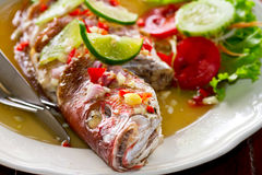 Thai style whole red snapper fish Royalty Free Stock Images