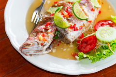 Thai style whole red snapper fish Royalty Free Stock Photos