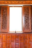 Thai style window. At the sub urban temple Royalty Free Stock Images