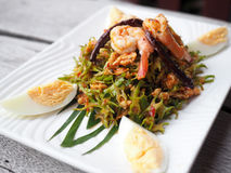 Thai style wing bean salad. Topped with shrimp, coconut milk and boiled egg. Served on white plate on grey wooden background Royalty Free Stock Photos