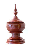 Thai style wood carved pot Stock Image