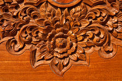 Thai style wood carving. Pattern of teak wood carving in Thai style Stock Image