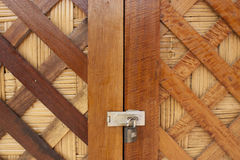 Thai-style wooden doors and key Stock Image