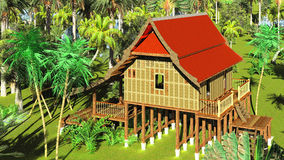 Thai style wooden hut 3d rendering Royalty Free Stock Photo