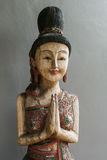 Thai style wooden woman statue Royalty Free Stock Photo