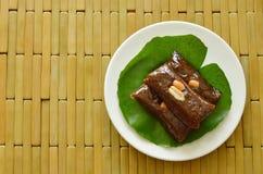 Thai sweet coconut caramel decorating on lotus leaf Royalty Free Stock Photo