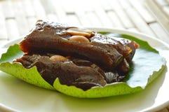 Thai sweet coconut caramel decorating on lotus leaf Royalty Free Stock Photos