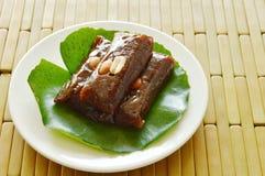 Thai sweet coconut caramel decorating on lotus leaf Stock Image