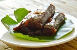 Thai sweet coconut caramel decorating on lotus leaf Stock Images