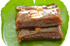 Thai sweet coconut caramel on lotus leaf Royalty Free Stock Photos