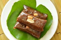 Thai sweet coconut caramel on lotus leaf Stock Photography