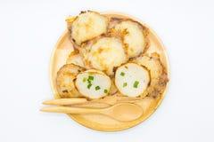 Thai sweet coconut hot pancake on white Royalty Free Stock Image