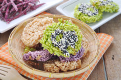 Thai Sweet Crispy Rice Cakes. Stock Photos