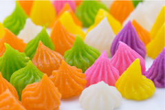 thai sweet dessert. Aalaw candy made from wheat flour, chickpea Stock Photo