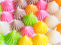 Thai sweet dessert, Aalaw candy. Thai sweet dessert. Aalaw candy made from wheat flour, chickpea flour, coconut, sugar and food coloring Royalty Free Stock Photography