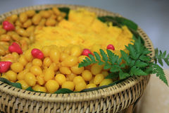 Thai sweet desserts on the wooden basket Royalty Free Stock Photography