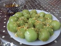 Thai sweet. Green ball fill with potato Stock Images