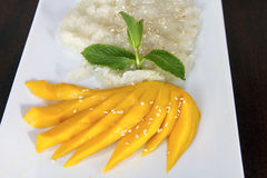 Thai Sweet Mango with Sticky Rice Royalty Free Stock Photo
