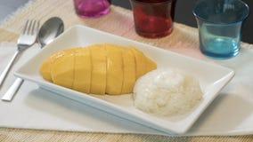 Thai Sweet Mango Sticky Rice with Coconut Milk. Stock Photo