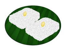 Thai Sweet Sticky Rice on Banana Leaf Stock Image