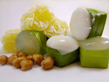 Thai sweet. Tago, thailand, bean, delicious, coconut milk, sweet on cup, jelly, jam beans inside, flavour Stock Photos
