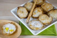 Thai sweetmeat call Kanom Krok in Thai Royalty Free Stock Photo