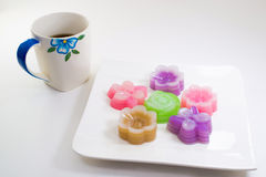 Thai sweetmeat and coffee. On a white background Stock Images