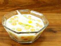 Thai sweetmeat with colorful ball flour coconut milk and egg Stock Images