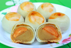 Thai sweetmeat. Thai dessert insert the soybean and an egg Royalty Free Stock Photo