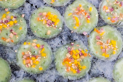 Thai sweetmeat. Kind of Thai sweetmeat . Coconut milk mix with powder fried dess Stock Photography