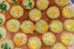 Thai sweetmeat. Kind of Thai sweetmeat . Coconut milk mix with powder fried dess Stock Images
