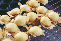 Thai sweetmeat, Knmcrk, made from coconut milk with sugar and flour.  stock photos