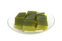 Thai sweetmeat layer pudding mixed with pandanus juice Royalty Free Stock Photo