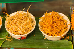 Thai sweetmeat made of fried potato mix with syrub Royalty Free Stock Photos