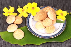 Thai sweetmeat made of roasted flour, egg and sugar. Thai sweet soft biscuit,Thai sweetmeat made of roasted flour, egg and sugar call Khanom Ping in Thai Royalty Free Stock Photography
