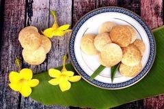 Thai sweetmeat made of roasted flour, egg and sugar. Thai sweet soft biscuit,Thai sweetmeat made of roasted flour, egg and sugar call Khanom Ping in Thai Stock Photo