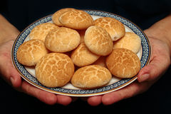 Thai sweetmeat made of roasted flour, egg and sugar. Thai sweet soft biscuit,Thai sweetmeat made of roasted flour, egg and sugar call Khanom Ping in Thai Royalty Free Stock Photo