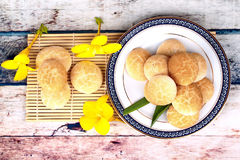 Thai sweetmeat made of roasted flour, egg and sugar. Stock Images