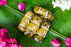 Thai Sweets bunch of mush with banana filling or Kao-Tom-Mud Royalty Free Stock Photography
