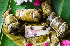 Thai Sweets bunch of mush with banana filling or Kao-Tom-Mud. Thai Sweets dessert bunch of mush with banana filling or Kao-Tom-Mud Royalty Free Stock Photography