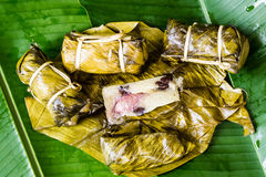 Thai Sweets bunch of mush with banana filling or Kao-Tom-Mud. Thai Sweets Dessert bunch of mush with banana filling or Kao-Tom-Mud Stock Images