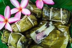 Thai Sweets bunch of mush with banana filling or Kao-Tom-Mud. Thai Sweets dessert bunch of mush with banana filling or Kao-Tom-Mud Royalty Free Stock Photos