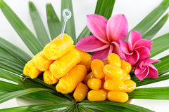 Thai sweets on the leaf Royalty Free Stock Photos