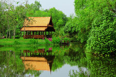 Thai sytle pavilion in garden Stock Images
