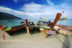Thai taxi boat in sea Royalty Free Stock Photos