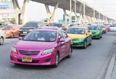 Thai taxi cab on the road Royalty Free Stock Images