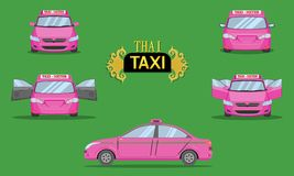 Thai taxi cap car front back side view transport service passenger vehicle type pink vector illustration eps10 royalty free illustration